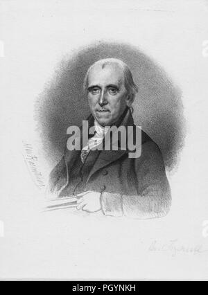 Black and white vintage print of Jared Ingersoll, a Philadelphia lawyer, statesman, Pennsylvania Attorney General, delegate to the Continental Congress, and signer of the United States Constitution, depicted from the chest up, facing the viewer, with a serious expression on his face, wearing a high-collared dark jacket, with an ascot tie, likely engraved after an 1820 drawing by Charles Willson Peale, 1841. From the New York Public Library. () - Stock Photo