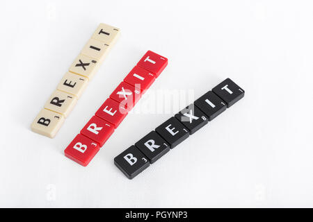 BREXIT / Brexit negotiations end game - deal or no deal? Letter tiles on textured neutral backdrop. EU UK relationship concept. - Stock Photo