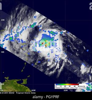 Tropical storm Irene revealed by the Tropical Rainfall Measuring Mission (TRMM) satellite, August 22, 2011. Image courtesy NASA / SSAI, Hal Pierce. () - Stock Photo