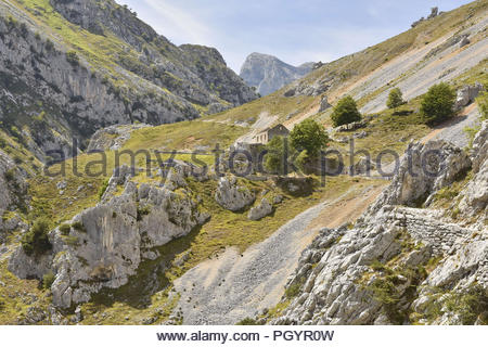 Rocky landscape  - Cares Gorge route between towns of Poncebos and Cain in Picos De Europa National Park, Cantabria Spain Europe. - Stock Photo