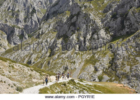 Rocky landscape - hikers on Cares Gorge route between towns of Poncebos and Cain in Picos De Europa National Park, Cantabria Spain Europe. - Stock Photo