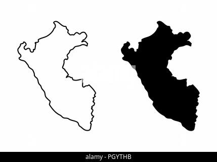 Simplified maps of Peru. Black and white outlines. - Stock Photo
