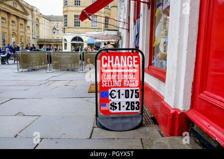 Foreign currency exchange board outside a bureau de change in sofia