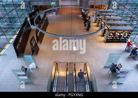 Entrance to the lending section in the Royal Danish Library, The Black Diamond library, Slotsholmen, Copenhagen. - Stock Photo