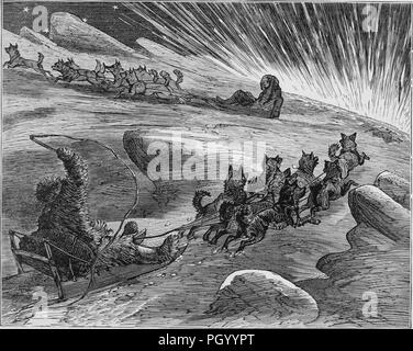 Black and white vintage print, depicting Eskimos wearing fur coats and boots, while driving dogsleds through a frozen landscape, published in John George Wood's volume 'The uncivilized races of men in all countries of the world, being a comprehensive account of their manners and customs, and of their physical, social, mental, moral and religious characteristics', 1877. Courtesy Internet Archive. () - Stock Photo