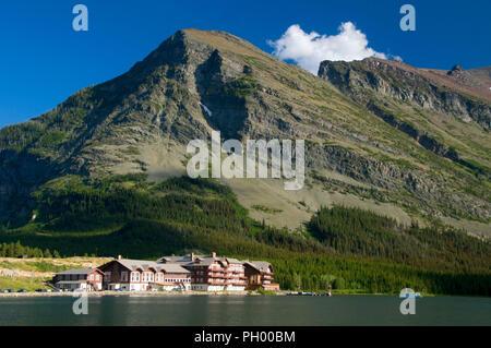 Many Glacier Hotel on Swiftcurrent Lake, Glacier National Park, Montana - Stock Photo