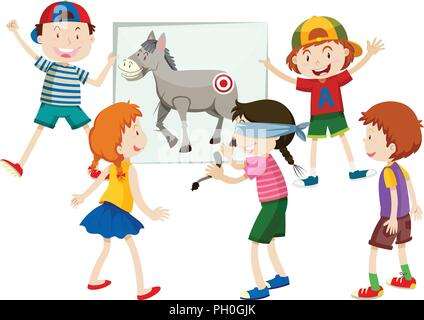 pin the tail on the donkey illustration - Stock Photo