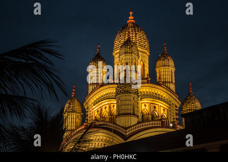 Night view of Dakshineswar Kali temple in Kolkata, West Bengal, India. - Stock Photo