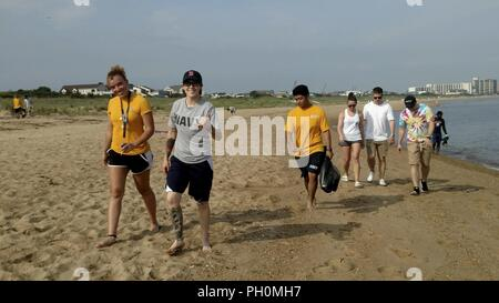 "VIRGINIA BEACH, Virginia (June 18, 2018) Sailors assigned to the aircraft carrier USS George H.W. Bush (CVN 77) clean up the beach at First Landing State Park. As a birthday tribute to the ship's namesake, and representing his famous ""Thousand Points of Light"" speech, approximately 1,000 GHWB crew members took part in one of the largest single-day community relation (COMREL) events at 44 different locations throughout the Hampton Roads area. George H.W. Bush turned 94 on June 12. - Stock Photo"
