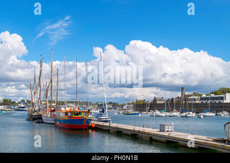 The harbour looking towards the historic old city (ville close), Concarneau, Finistere, Brittany, France - Stock Photo