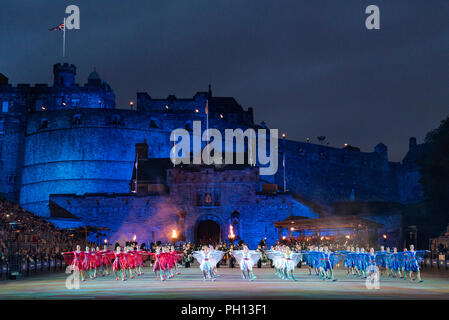 The 2018 Royal Edinburgh International Military Tattoo on esplanade of Edinburgh Castle. Tattoo Dance Company - Stock Photo