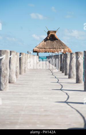 Ocean view from a pier with seagulls perched on either side of it and a grass roof at the end. - Stock Photo