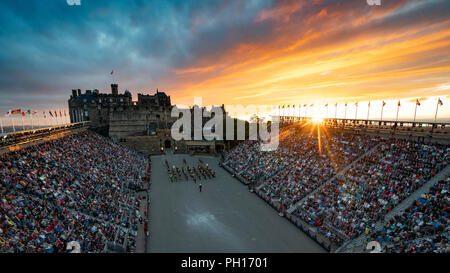 The 2018 Royal Edinburgh International Military Tattoo on esplanade of Edinburgh Castle, Scotland, UK - Stock Photo