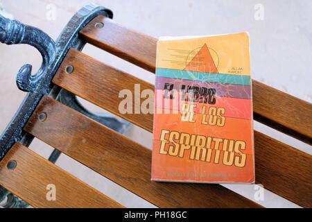 Spanish version of Allan Kardec's The Spirits' Book published by Editores Mexicanos Unidos in 1990 as El Libro de los Espíritus. - Stock Photo