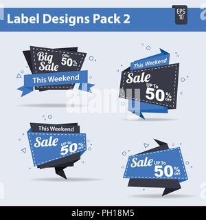 4 Sale label Design Pack 2 Vector, sales, tag, sign, - Stock Photo