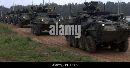 Infantrymen with the 1st Squadron, 2nd Cavalry Regiment patrol in Stryker Armored Combat vehicles during a joint combined arms live fire exercise Aug. 26-30 at Bemowo Piskie Training Area, Poland. The CALFEX is designed to maintain readiness and build interoperability among BPTA Soldiers. The Soldiers are on a six-month rotational assignment in support of the multinational battle group comprised of U.S., U.K., Croatian and Romanian Soldiers who serve with the Polish 15th Mechanized Brigade as a defense and deterrence force in northeast Poland in support of NATO's Enhanced Forward Presence at B - Stock Photo