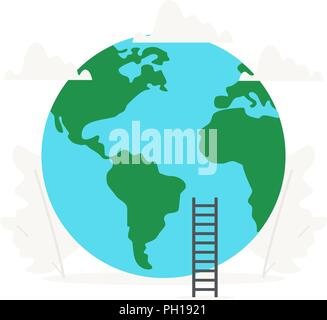 Earth and planet business presentations on white background. World Health Day illustration. - Stock Photo