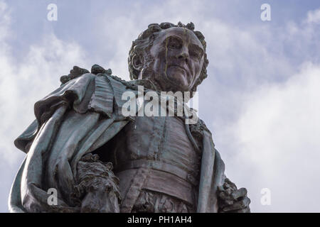 Edinburgh, Scotland, UK - June 14, 2012; Fish eye shot on chest and head of Statue of Walter Montagu Douglas Scott, Duke of Buccleuch on Parliament Sq - Stock Photo
