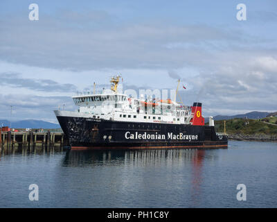 Caledonian MacBrayne ferry 'Lord of the Isles' at Mallaig harbour, on the west coast of Scotland - Stock Photo