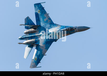 A Sukhoi Su-27 'Flanker' multirole fighter jet of the Ukrainian Air Force at the Royal International Air Tattoo 2018. - Stock Photo