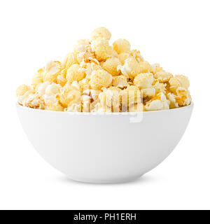 popcorn isolated on white background, clipping path, full depth of field - Stock Photo