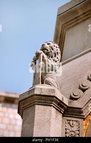 The statue of a lion u Dubrovnik. Exterior detail architecture. - Stock Photo