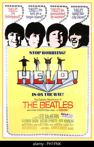 1965 'HELP'' !  Vintage Beatles Movie Poster 1960's United Artists British musical comedy-adventure film directed by Richard Lester, starring the Beatles–John Lennon, Paul McCartney, George Harrison and Ringo Starr—and featuring Leo McKern, Eleanor Bron, Victor Spinetti, John Bluthal, Roy Kinnear and Patrick Cargill. This was the second film starring The Beatles following Lester's A Hard Day's Night, Help! sees the group come up against an evil cult The soundtrack was released as an album, also called Help!. - Stock Photo