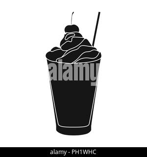 Milkshake with cherry on the top icon in black style isolated on white background. Milk product and sweet symbol vector illustration. - Stock Photo