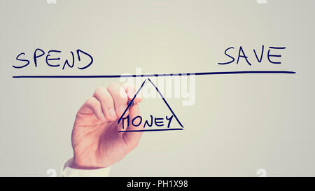 Conceptual retro image of whether to Spend or Save your Money with a man drawing a diagram of a seesaw on a virtual screen balancing the two concepts