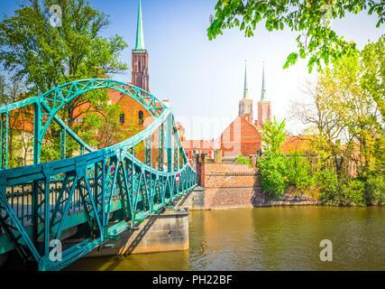 bridge to island Tumski, Wroclaw, Poland - Stock Photo