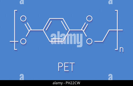 Polyethylene terephthalate (PET, PETE) polyester plastic, chemical structure. Mainly used in synthetic fibers and plastic bottles. Skeletal formula. - Stock Photo