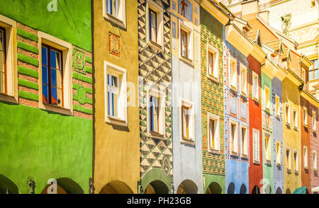 crooked medieval houses , Poznan, Poland - Stock Photo
