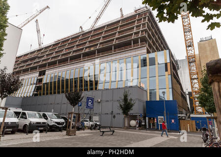 Berlin, Germany. 30th Aug, 2018. 30.08.2018, Berlin: The construction site of the new Axel Springer building, photographed during a press preview. Credit: Carsten Koall/dpa/Alamy Live News - Stock Photo