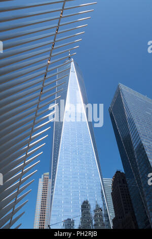 World Trade Center Complex in Lower Manhattan, NYC, USA - Stock Photo