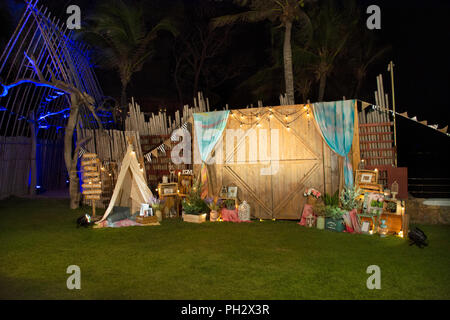 Thai and foriegners people walking and join night party with creative decoration at Hua Hin beach on March 10, 2018 in Prachuap Khiri Khan Province, T - Stock Photo