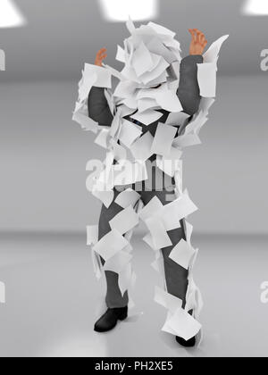 businessman plastered with paper sheets