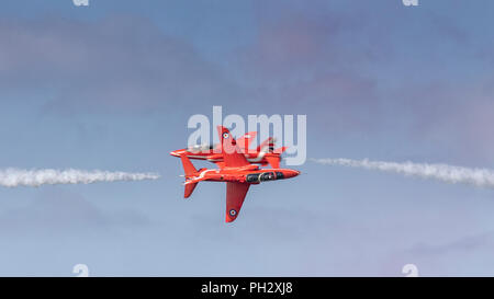 RAF Red Arrows 2018 display at Cromer, Norfolk - Stock Photo
