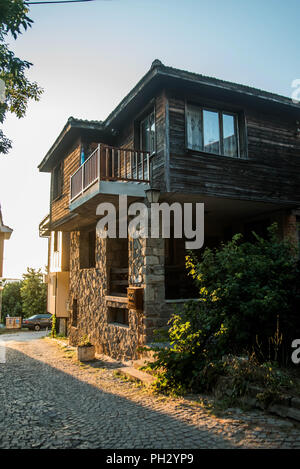 Sozopol, Bulgaria - September 11, 2016: Street view of Sozopol old town - Stock Photo