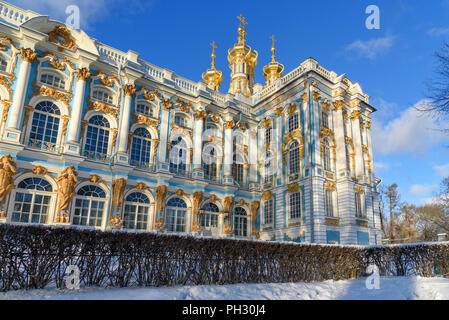 Catherine palace in Tsarskoe Selo in winter. Pushkin town. Saint Petersburg. Russia - Stock Photo