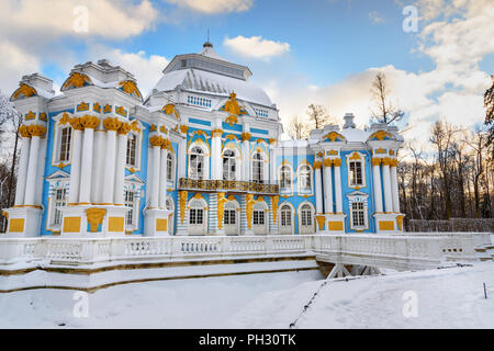 Pavilion Hermitage in Catherine park at Tsarskoe Selo in winter. Pushkin town. Saint Petersburg. Russia - Stock Photo