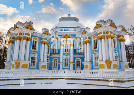 Pavilion Hermitage in Catherine park at Tsarskoe Selo in winter. Pushkin town. Saint Petersburg. Russia - Stock Photo