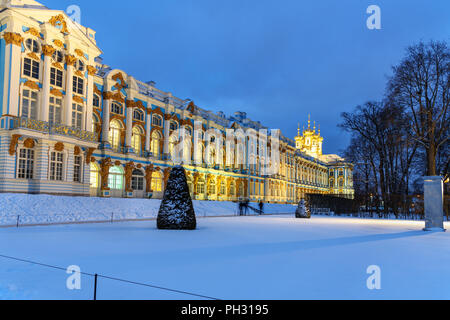 Catherine palace in Tsarskoe Selo at night in winter. Pushkin town. Saint Petersburg. Russia - Stock Photo