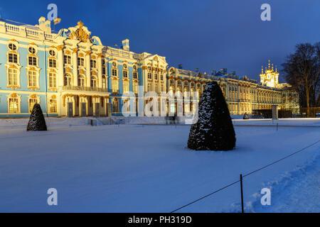 Catherine palace in Tsarskoe Selo at night in winter. Pushkin town. Saint Petersburg. Russia - Stock Photo