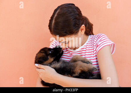 Portrait of a cheerful woman holding and looking at an adorable small puppy. - Stock Photo