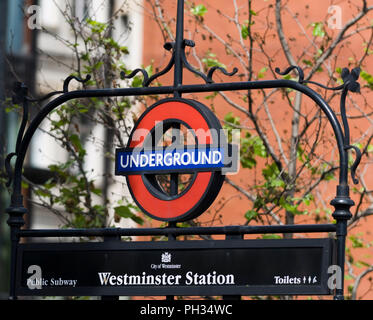London Underground sign Westminster Station - Stock Photo