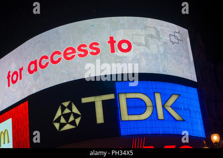 Advertising in Piccadilly Circus London UK - Stock Photo