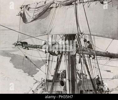 'Furling Sail in the Pack', c1910–1913, (1913). Artist: Herbert Ponting. - Stock Photo