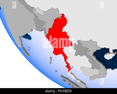 Map of Myanmar in red on political globe with transparent oceans. 3D illustration. - Stock Photo