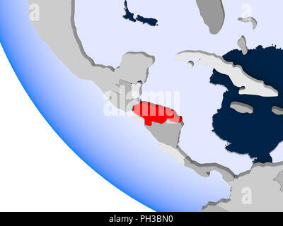 Map of Honduras in red on political globe with transparent oceans. 3D illustration. - Stock Photo