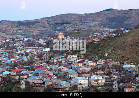 View over the old part of the city of Akhaltsikhe, Georgia, Caucasus. - Stock Photo